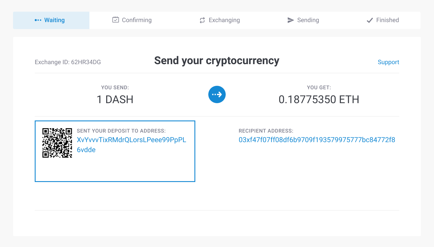 the address to send Dash