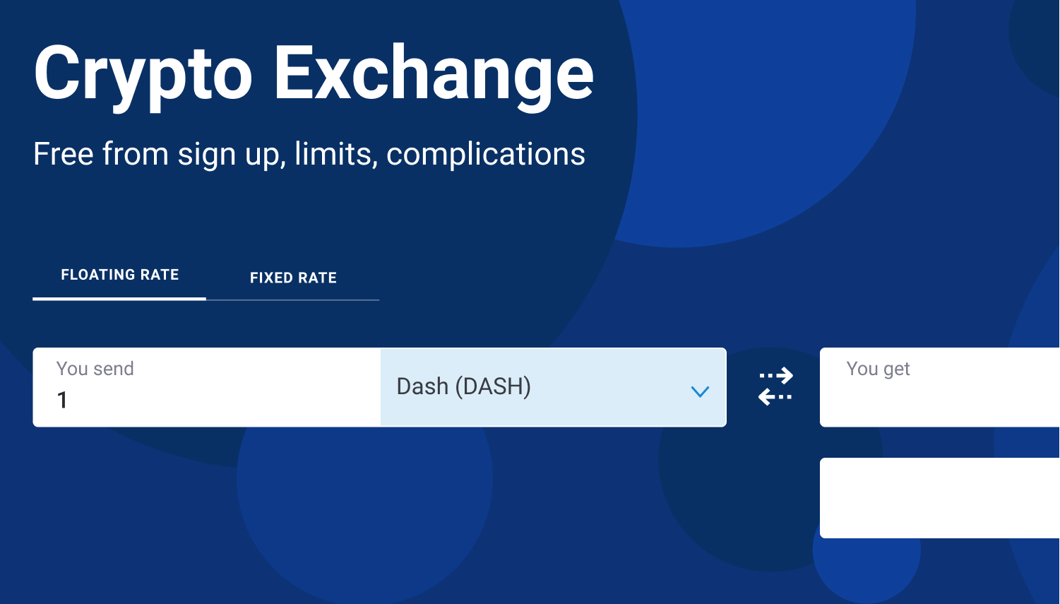 enter the amount of Dash to exchange