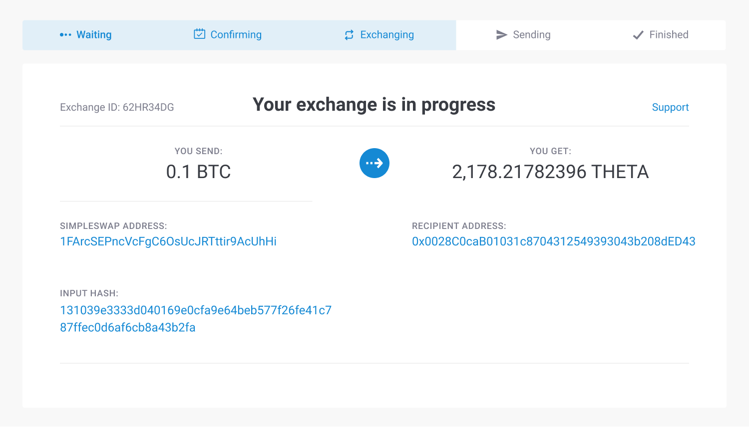 exchange status shift