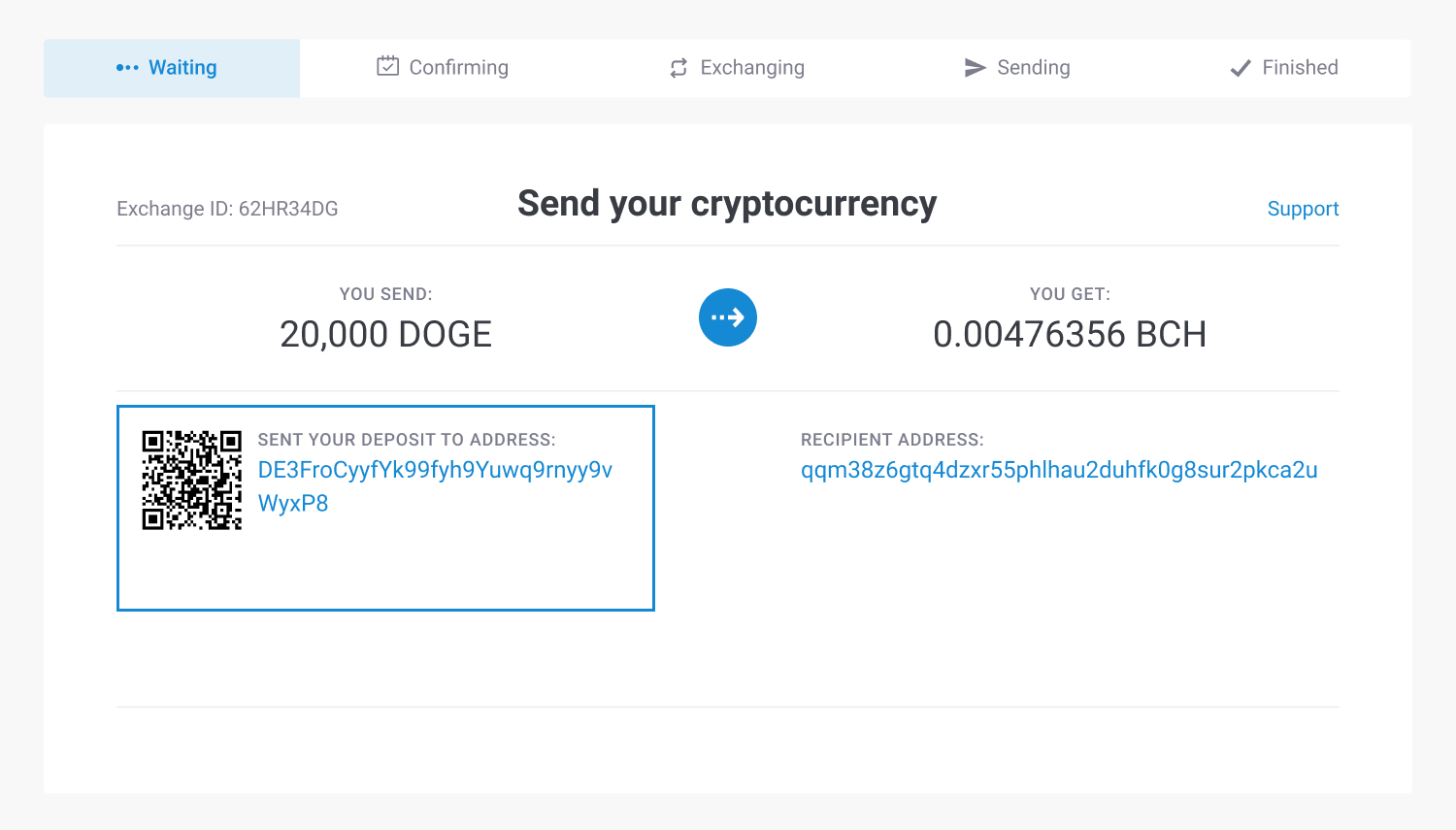 the address to send Dogecoin