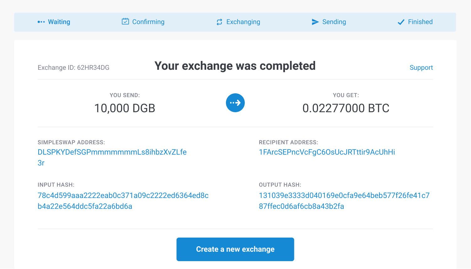 exchange completed successfully